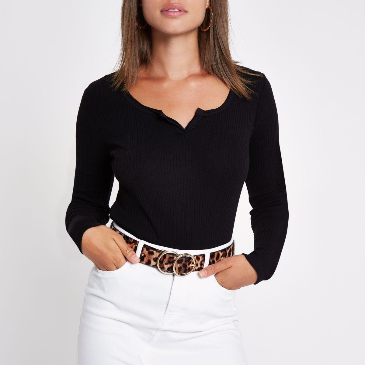 Black rib notch front long sleeve T-shirt