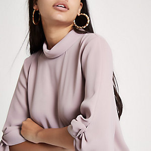 Pink twist sleeve top