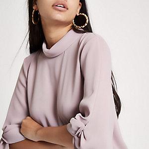 Pink twist sleeve top