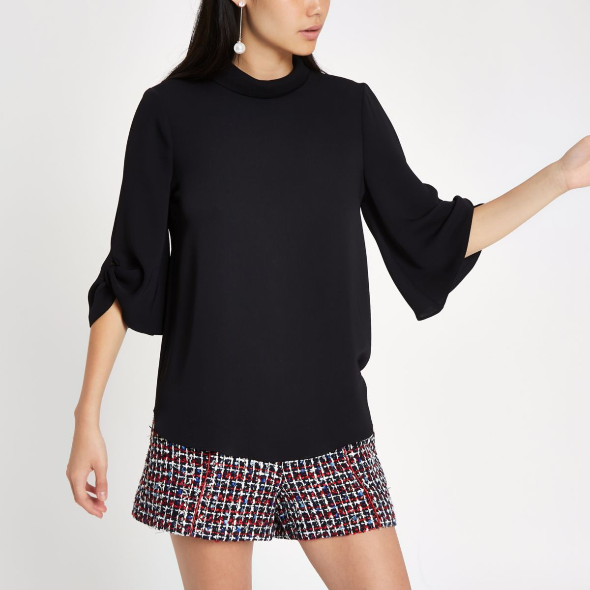 Black twist cuff blouse