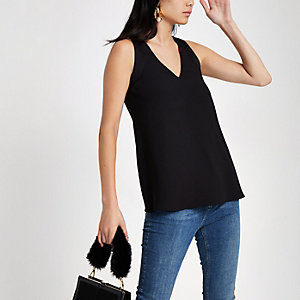Black V neck contrast tank top