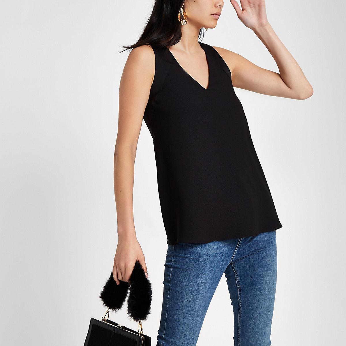 Black V neck contrast tank top