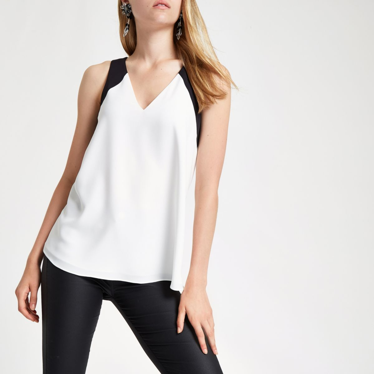 Cream V neck contrast vest top