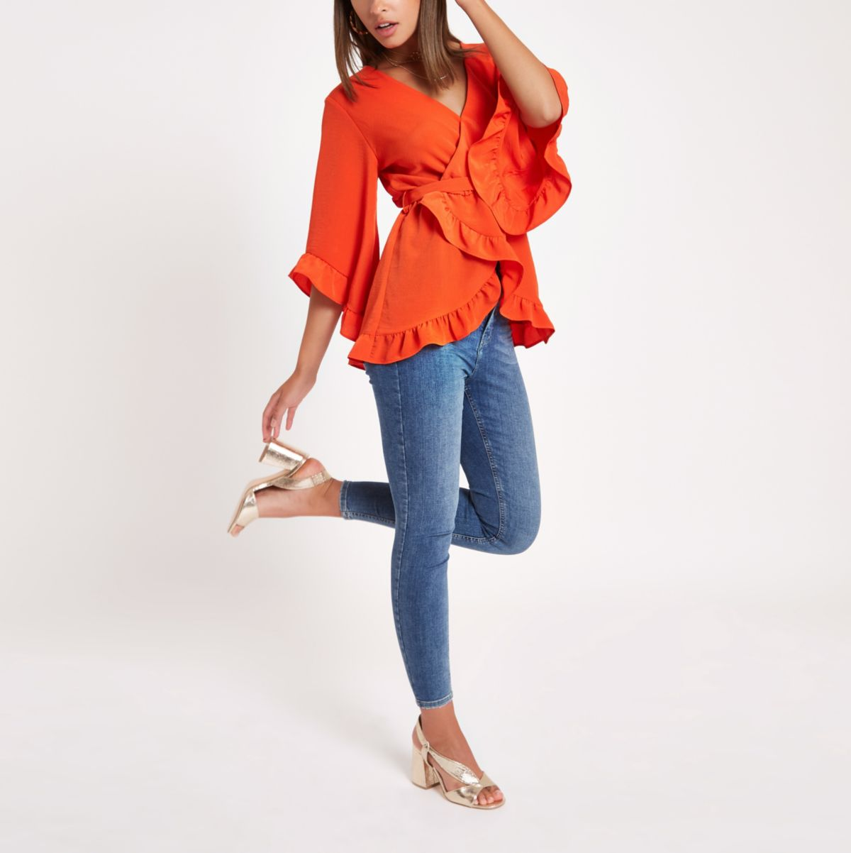 Red wrap tie waist frill blouse