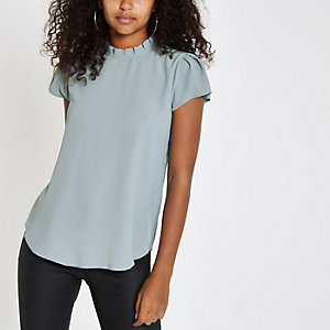Grey frill neck shell top