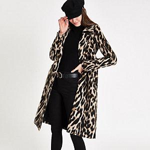 Brown leopard print wool belted robe coat