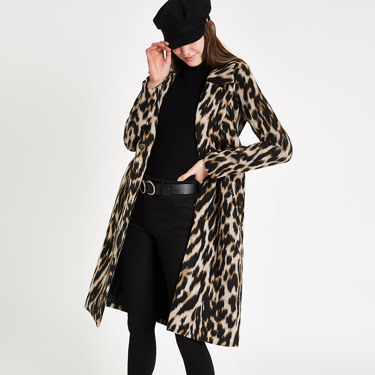 Brown leopard print wool belted robe coat