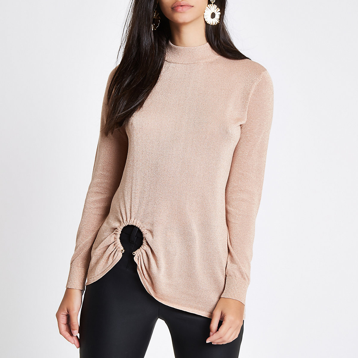 Gold knit high neck ring hem long sleeve top