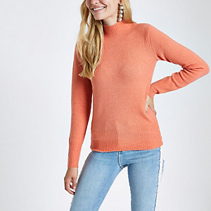 Coral knit turtle neck jumper
