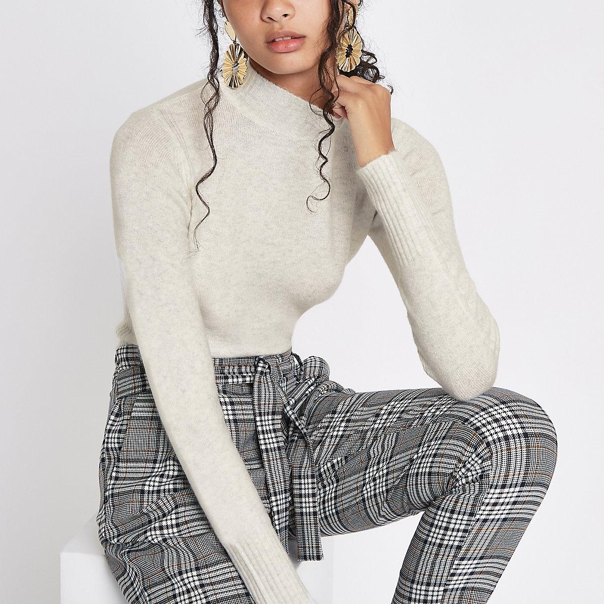 Cream knit turtle neck sweater