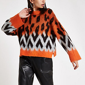 Orange knit leopard print wide sleeve sweater