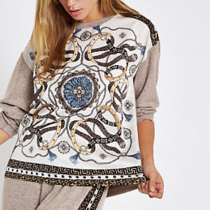 Beige scarf print long sleeve pajama top