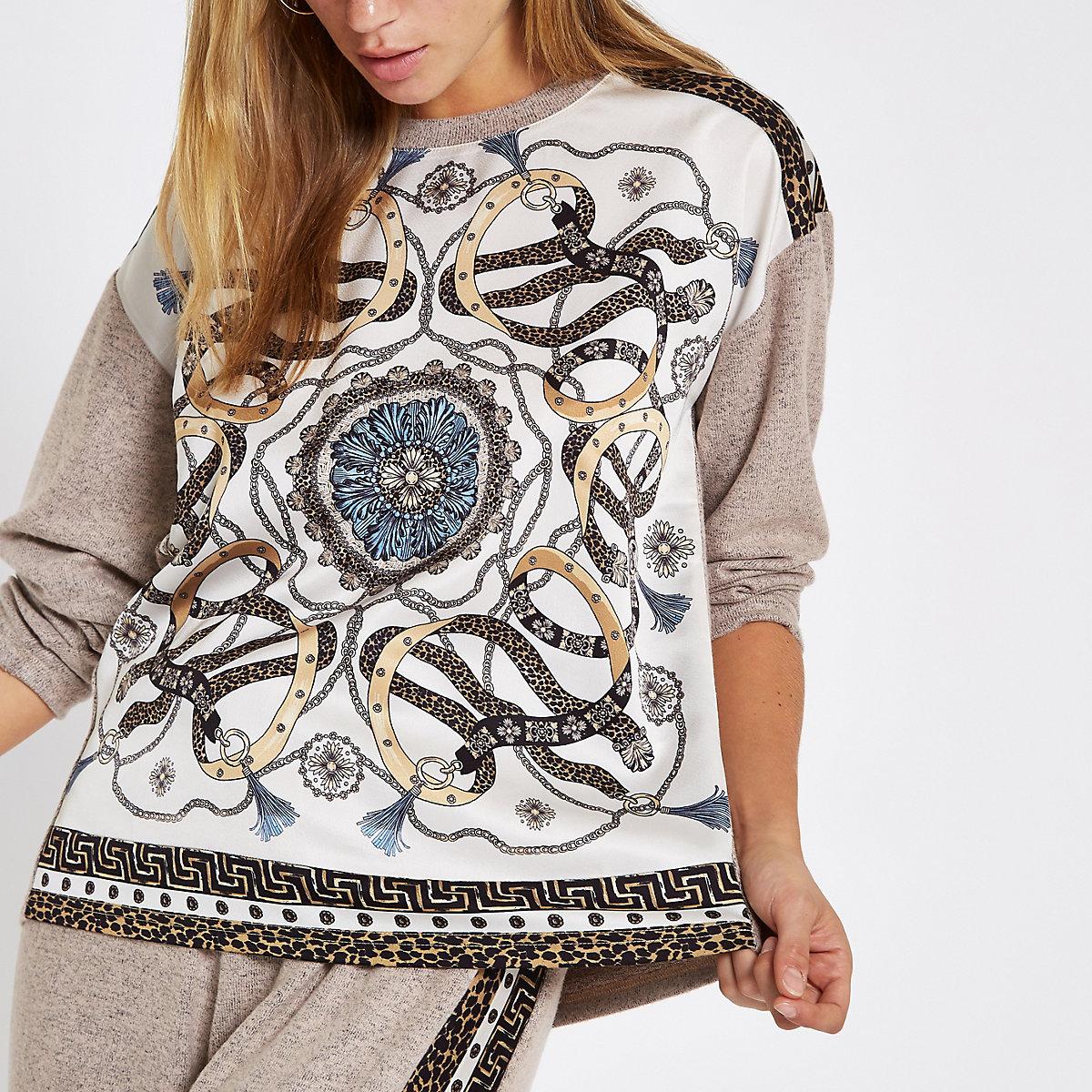 Beige scarf print long sleeve pajama top