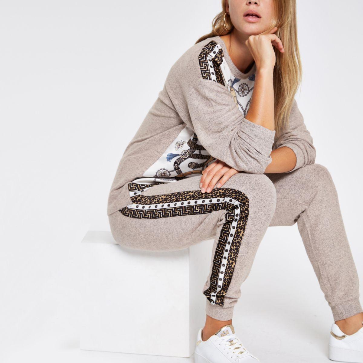 Beige scarf print pajama joggers