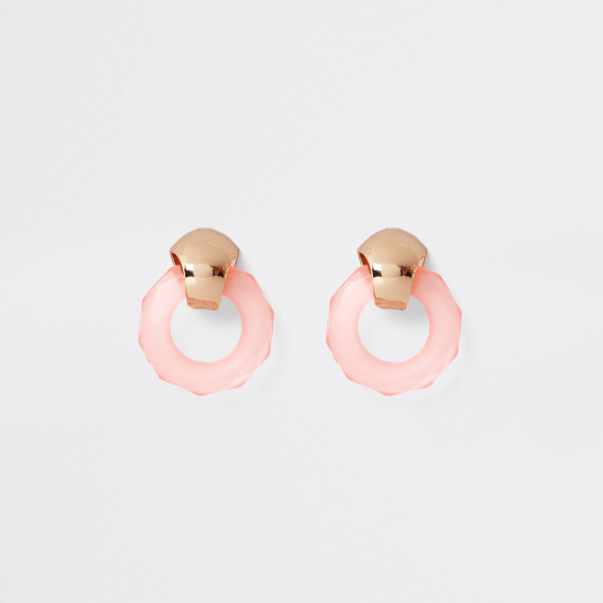 Gold tone pink frosted circle stud earrings