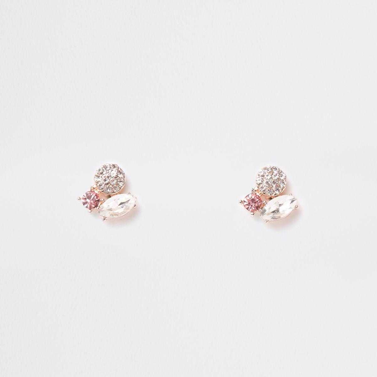 Rose gold tone three stone stud earring