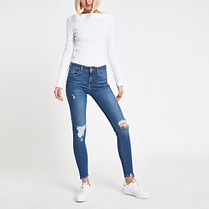 Mid blue Amelie ripped mid rise jeans
