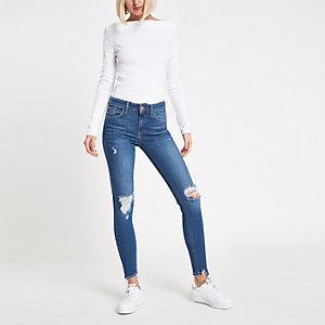 Amelie – Mittelblaue Jeans mit mittelhohem Bund im Used-Look