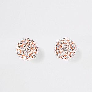 Boucles d'oreilles boule or rose à strass