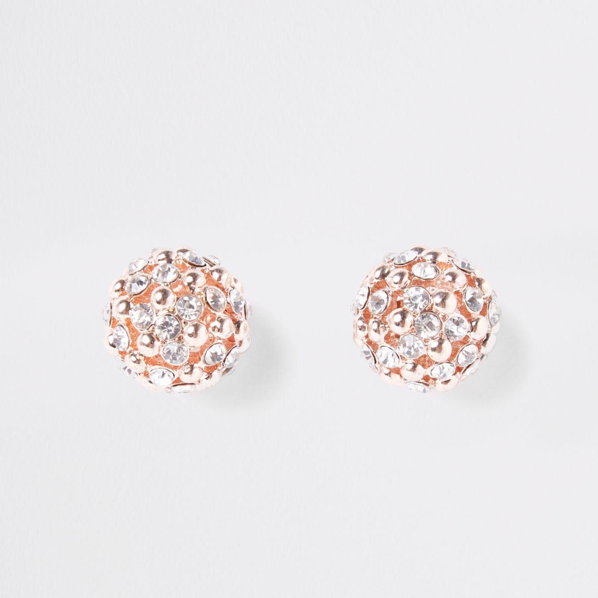 Rose gold tone rhinestone cluster orb earrings