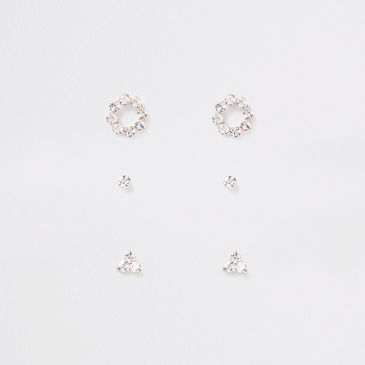 Gold plated cubic zirconia stud multipack