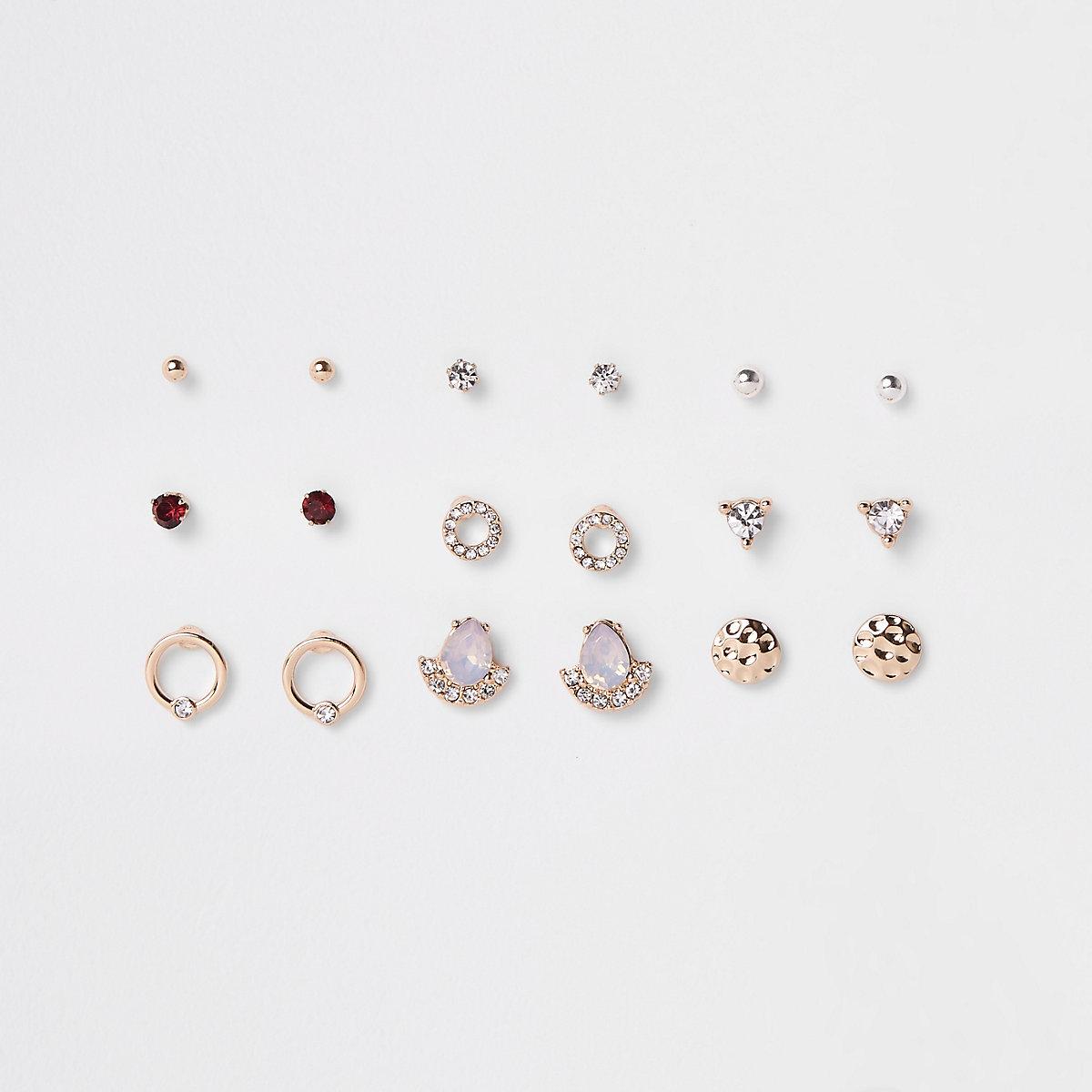 Gold tone opal rhinestone stud earrings pack