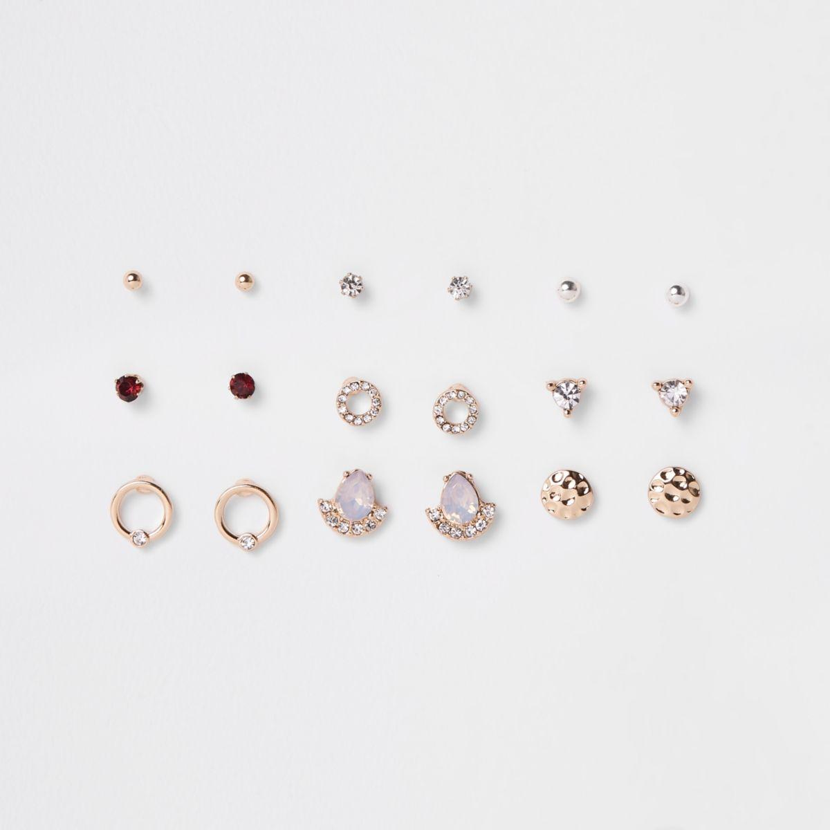 Gold tone opal diamante stud earrings pack