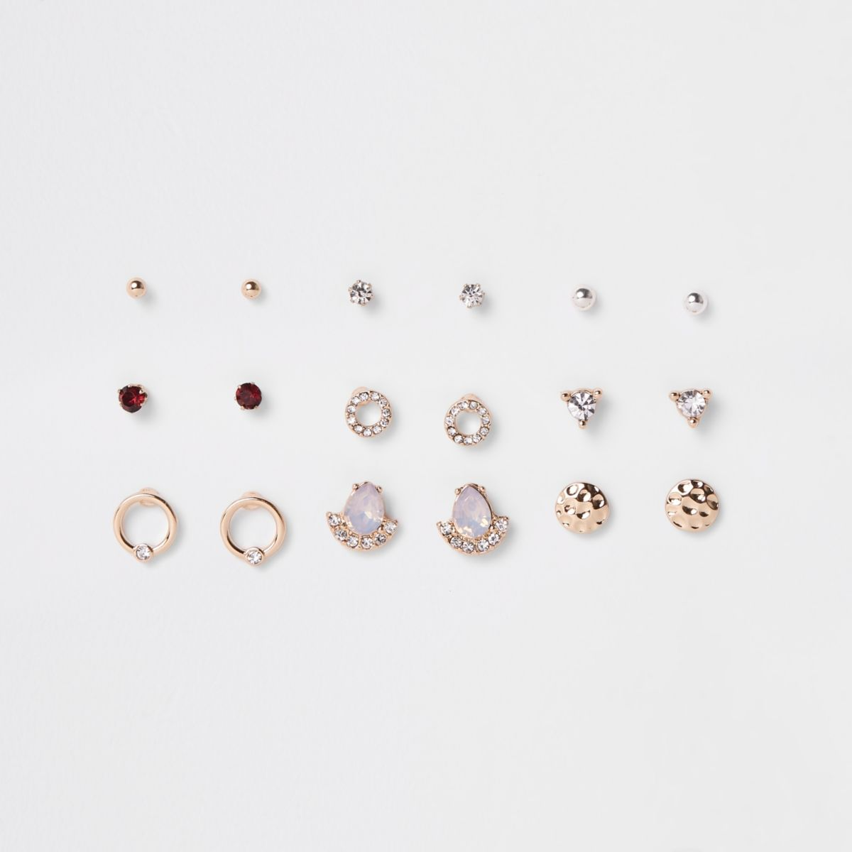 Gold tone opal rhinestone stud earrings pack