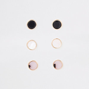 Gold tone circle stud earrings pack