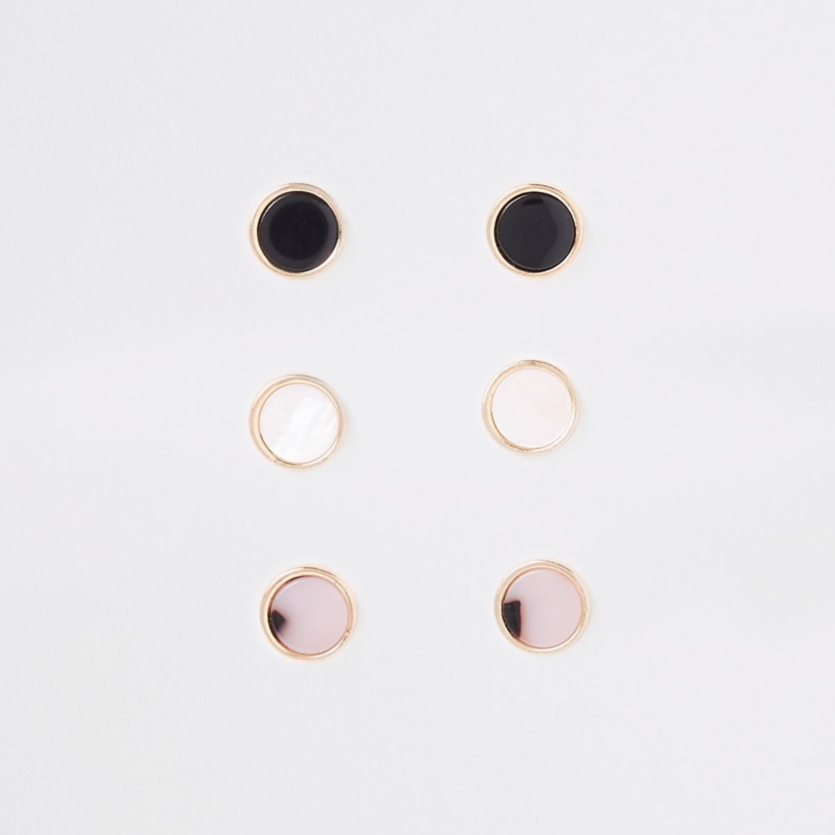 Gold tone circle stud earrings pack