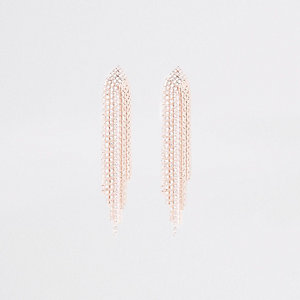 Rose gold tone slinky rhinestone stud earrings