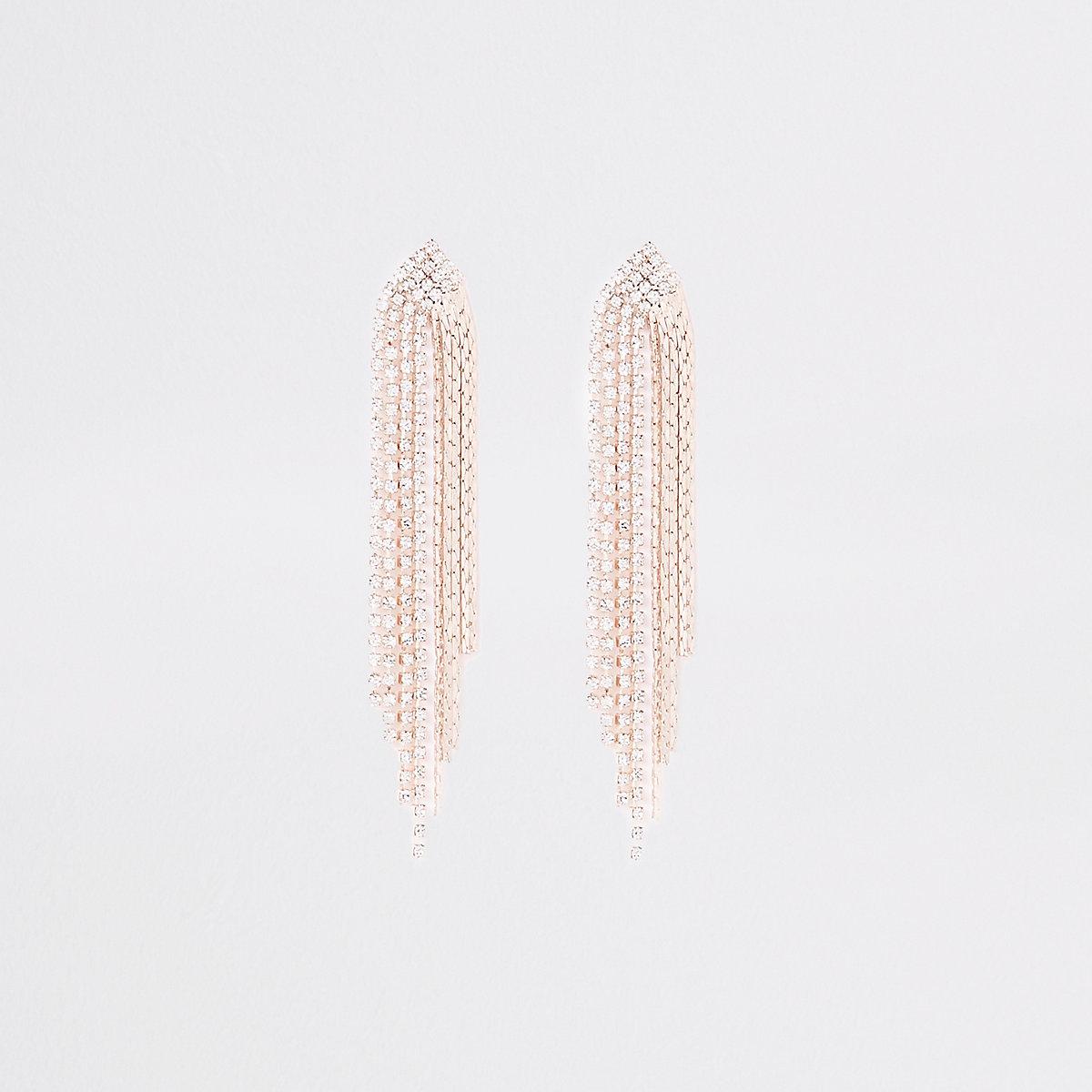 Rose gold tone slinky rhinestone stud earrings