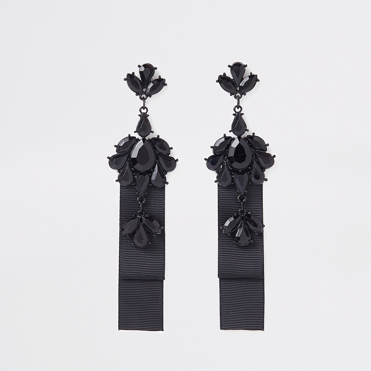 Black jewel drop statement earring