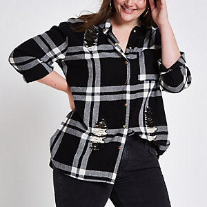 Plus white check sequin panel shirt