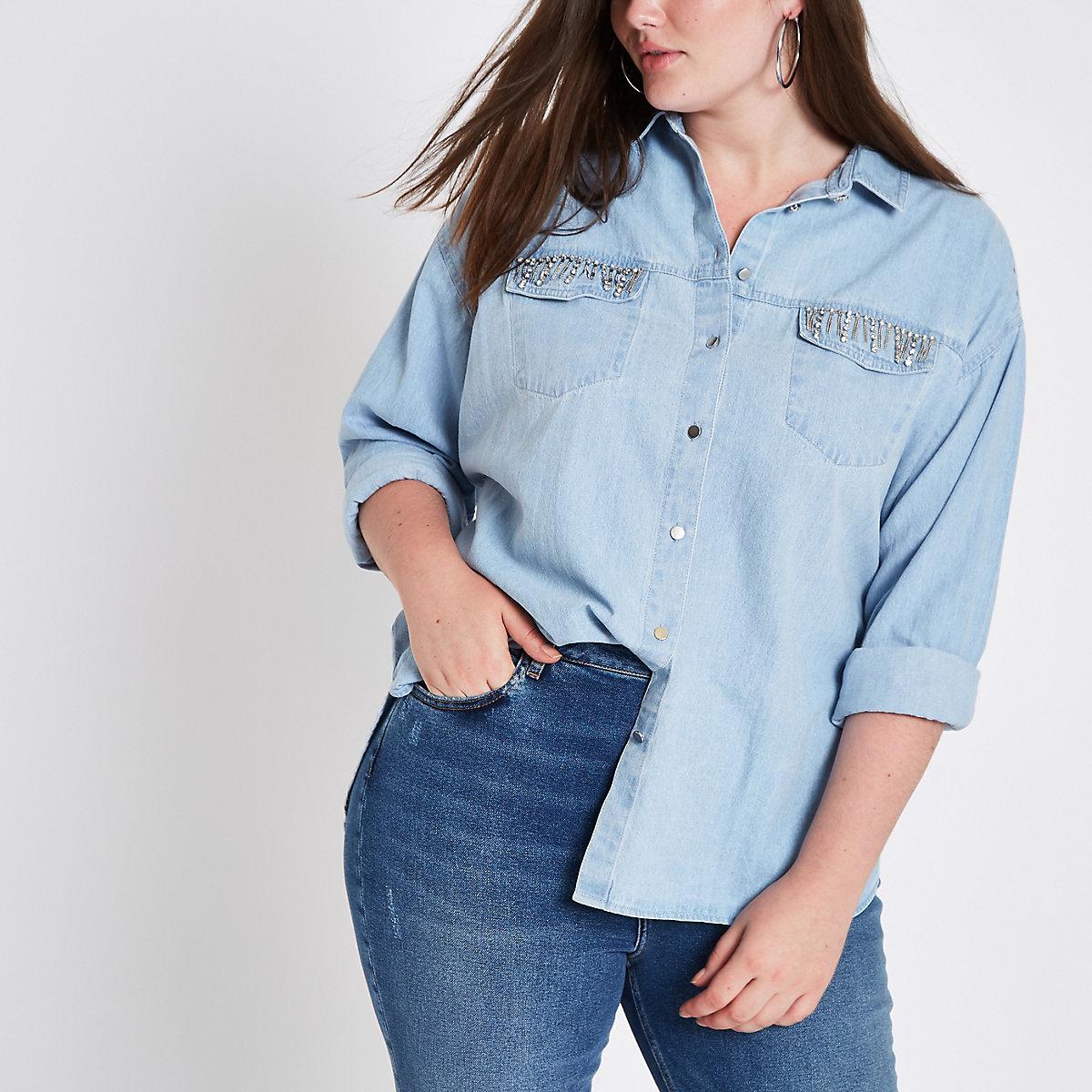 Plus light blue diamante pocket denim shirt