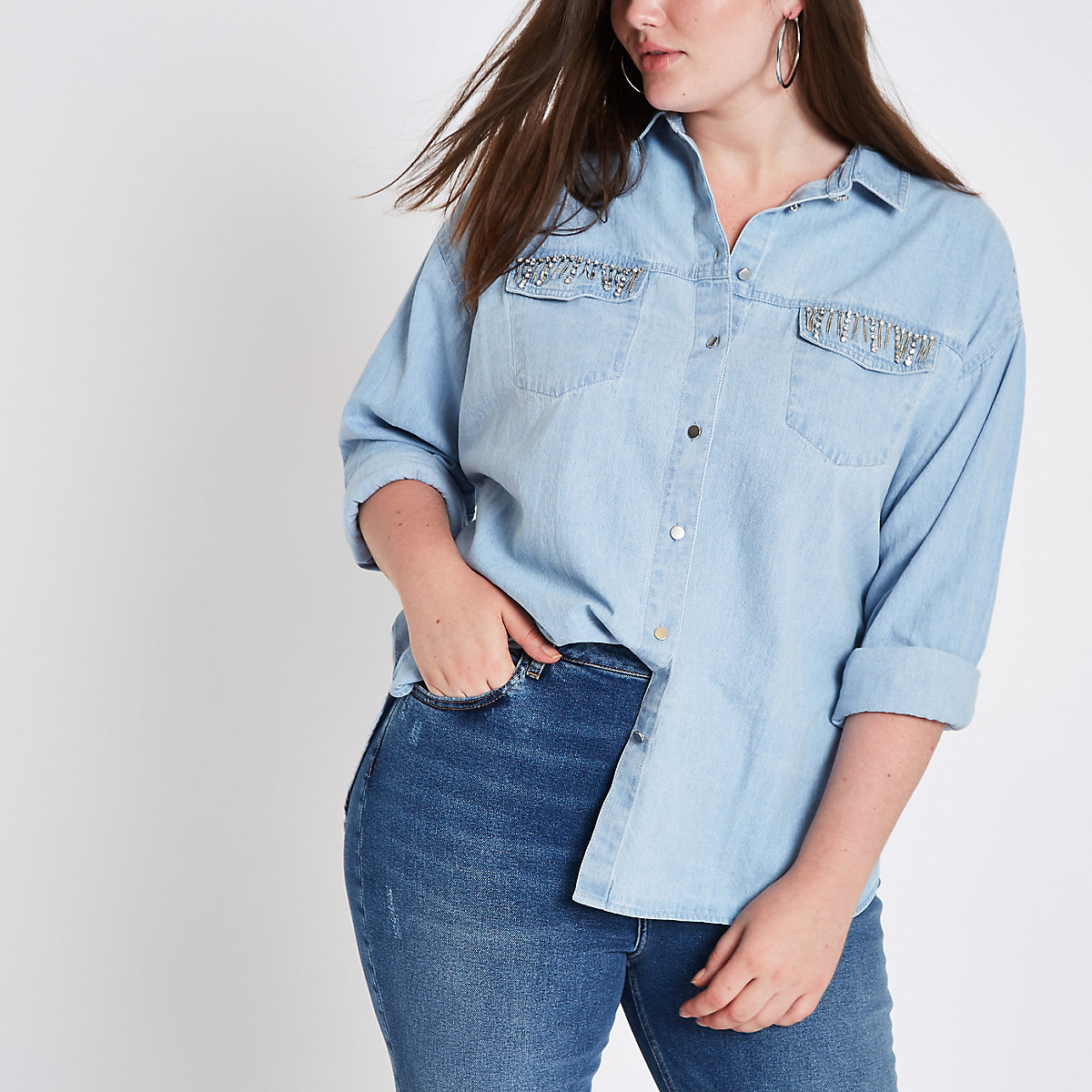 Plus light blue rhinestone pocket denim shirt