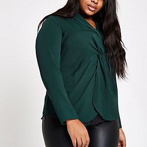 Plus green twist front long sleeve blouse