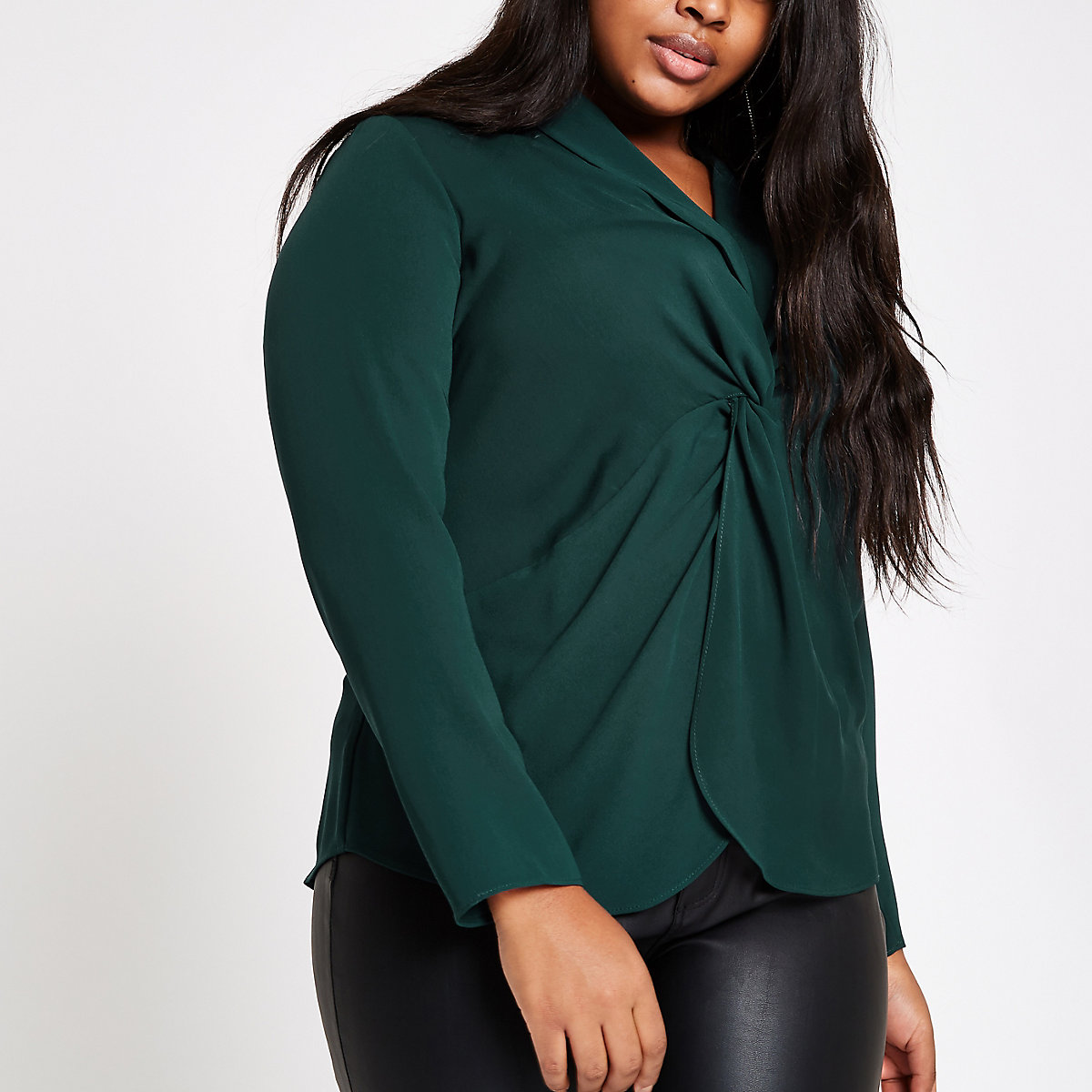 Plus green twist front long sleeve blouse