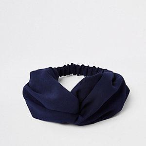 Bandeau bleu marine torsadé