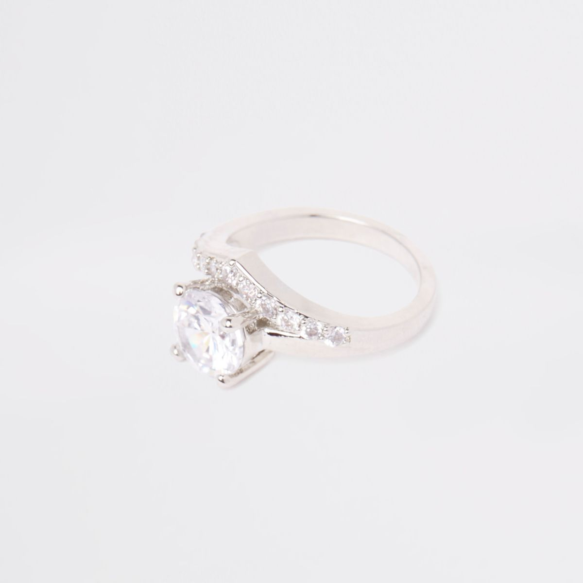 Silver tone cubic zirconia stone ring
