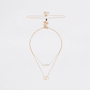 Gold tone interlinked necklace multipack