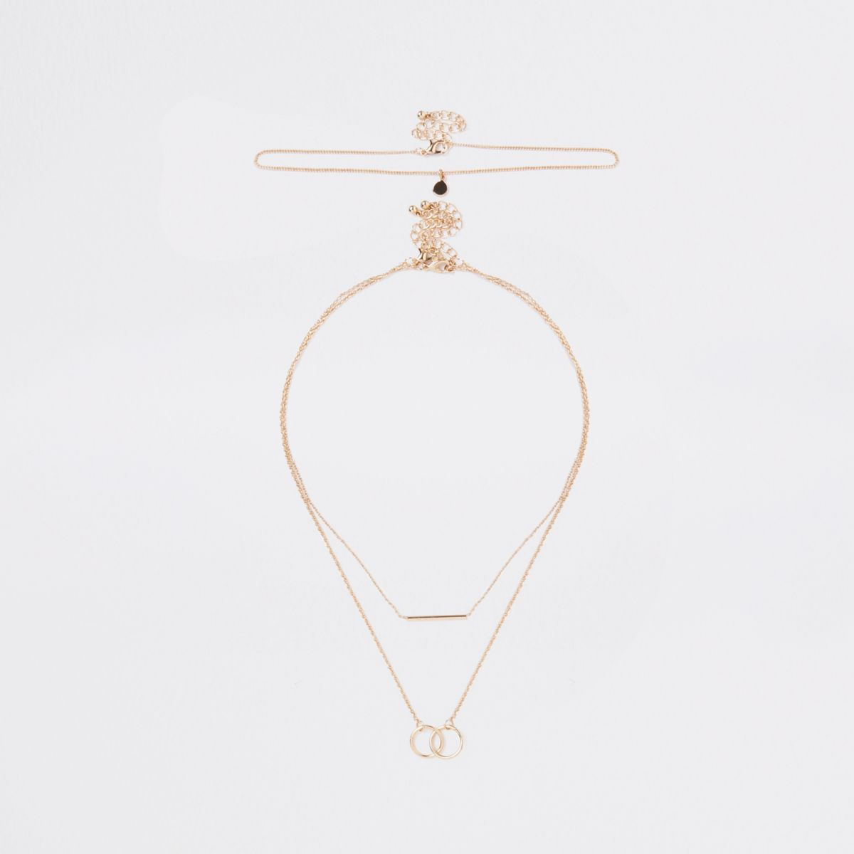 Gold tone interlinked necklace multipack