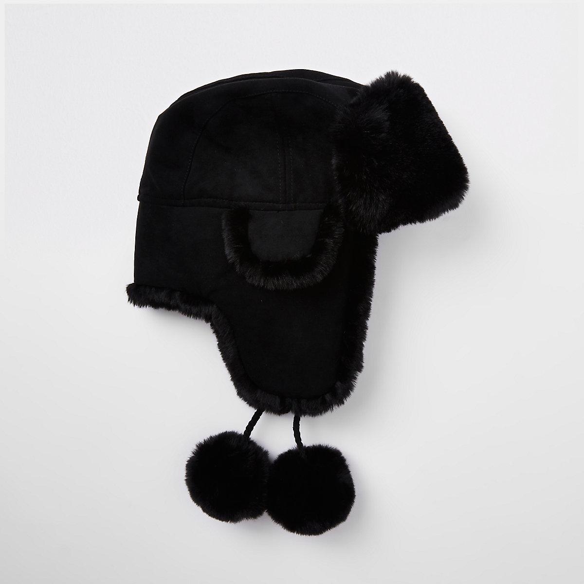 Black faux fur suede pom pom trapper hat