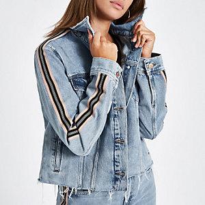 Blue tape sleeve cropped denim jacket