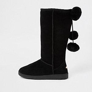 Black suede faux fur pom pom boots