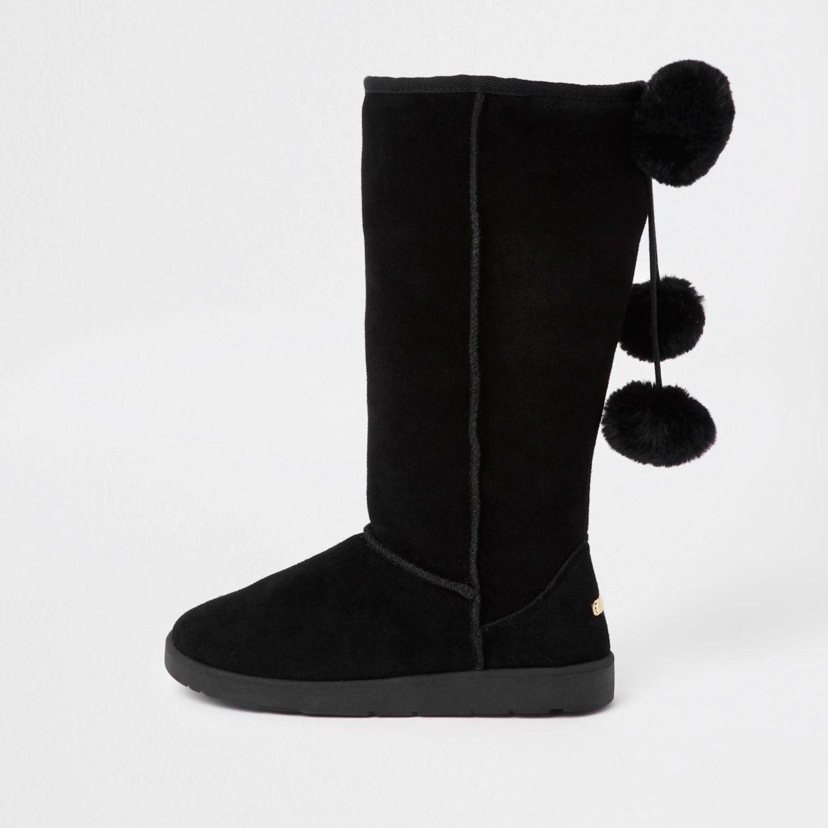 Black suede fur lined pom pom boots