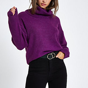 Purple oversized roll neck sweater