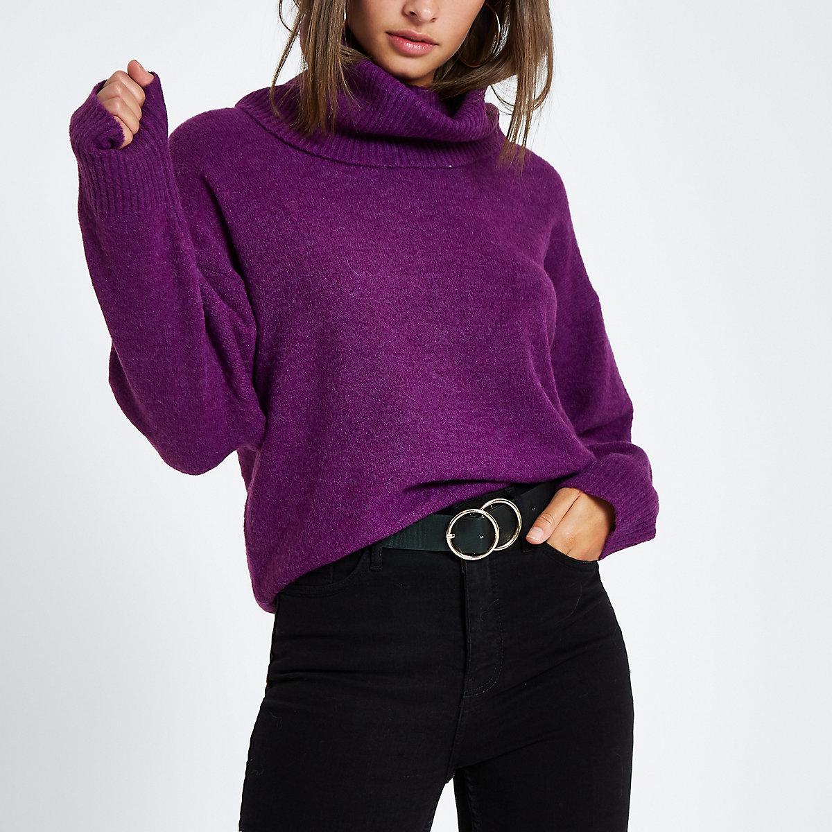 Purple oversized roll neck sweater