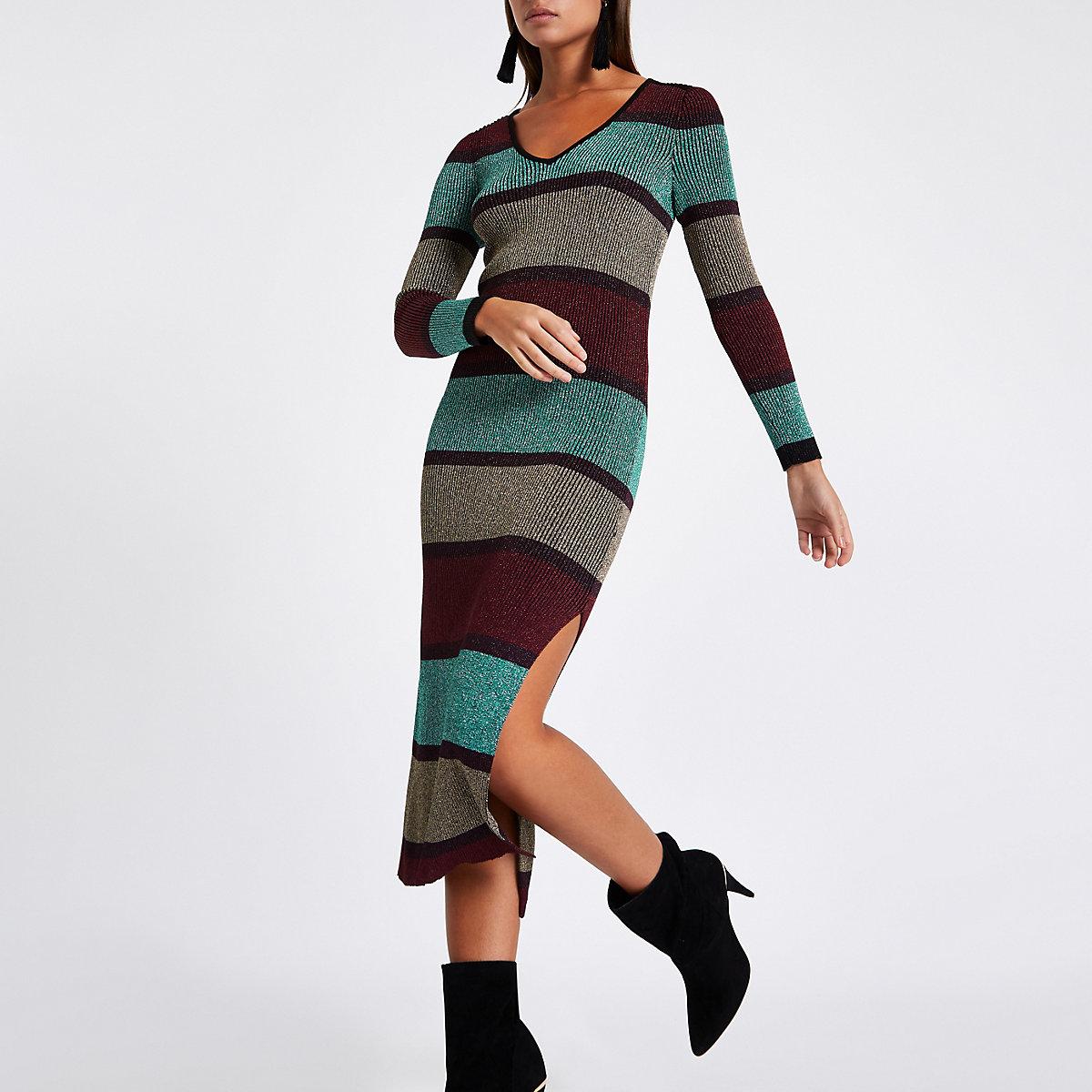 Purple stripe V neck bodycon midi dress