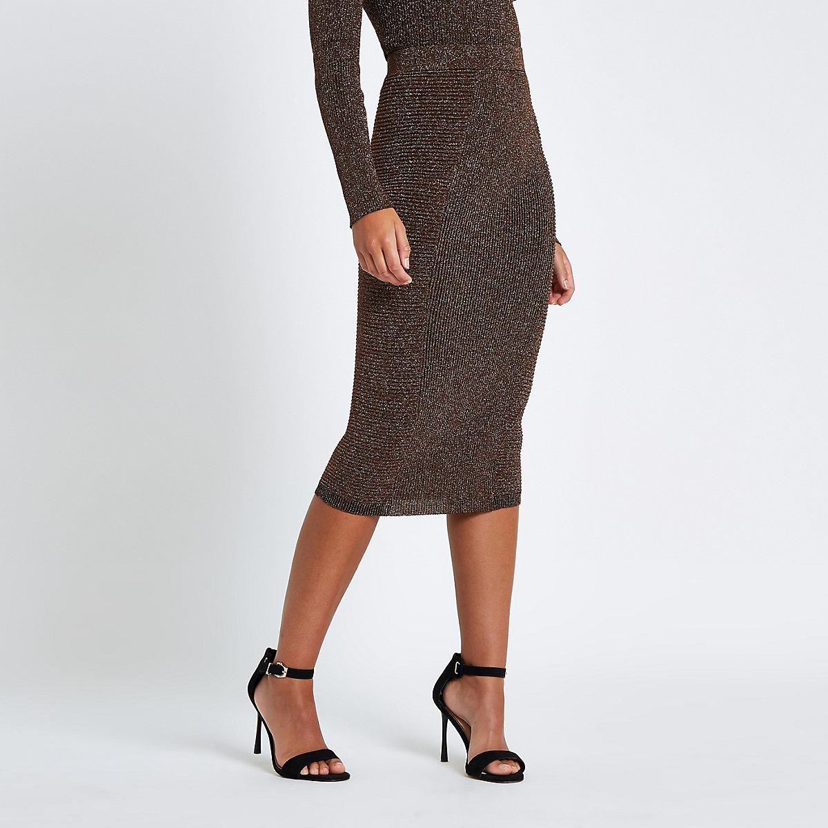 Brown metallic pencil skirt